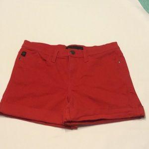 Rock & Republic Red Denim Stretch Cuff Shorts